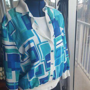 Color block top jacket vintage button down sz 16